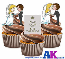 PRECUT Wedding Bride And Groom Keep Calm 12 Edible Cupcake Toppers Decoration