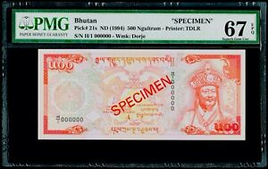 "500 Ngultrum ND (1994) ""SPECIMEN"" Bhutan Pick# 21s PMG 67 EPQ Superb Gem UNC"
