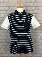 LUKE MENS UK L POLO SHIRT NAVY AND WHITE STRIPED SMART CASUAL EVERYDAY