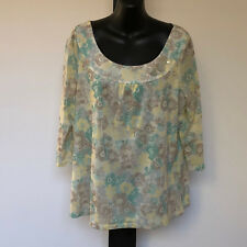 'JH COLLECTIBLES' EC SIZE 'XL' YELLOW, TAUPE, WHITE & AQUA FLORAL 3/4 SLEEVE TOP