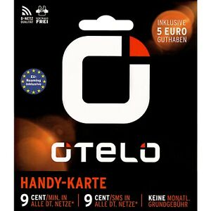 otelo D2 Prepaid Handy Karte 5€ Guthaben o.tel.o Callya Vodafone 9 Cent Tarif