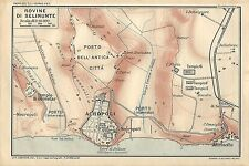 Carta geografica antica SELINUNTE Trapani Sicilia TCI 1919 Old antique map