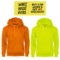 MENS HIGH VISIBILITY HOODIE CASUAL PULLOVER HOODED SWEATSHIRT SAFETY NEON COLORS
