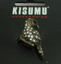 Lovely gold tone metal stylised expandable ring with bird design white stones