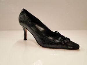 Sabrina Chic Womens Metallic Black Heel Court Shoes UK 4 / EU 37 (2707 S-G 252)