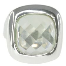 Green Amethyst Prasiolite Gemstone Checkerboard Wrap Sterling Silver Ring size R