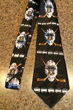 "New Neck Tie Black Hockey Masks Goalie Steven Harris Tied 58""L 3.8""W"