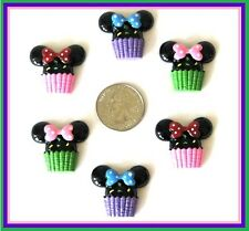 6 PC MINNIE SWEET TREATS CUPCAKE RESIN FLATBACK HAIRBOW CENTERS RESINS FLAT BACK