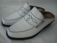ARIAT WHITE LEATHER DRESS WESTERN CLOG SHOE SZ 6M MADE IN BRAZIL