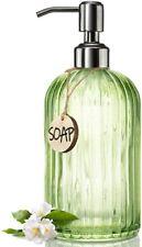 Beautiful Calming Green Glass 18Oz Capacity Soap Dispenser Kitchen or Bathroom