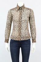 Dolce&Gabbana Leopard Print Blouse Cotton Blend Shirt Size 42 XS-S Made in Italy