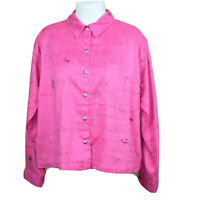 Chico's Design Womens Pink Graphic Button Up Soft Long Sleeve Tunic Top Sz 3 XL