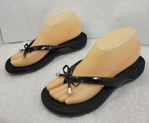 Vionic Womens Rest Bella Ii Slip On Comfort Black Flip Flop Sandals Size US 6