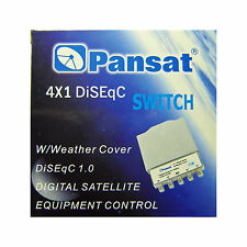 LOT of 2 pcs PANSAT 4x1 DiSEqC 2.0 Switch with Weather Cover Satellite FTA