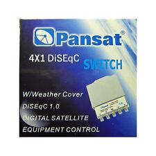 PANSAT 4x1 DiSEqC 2.0 Weather Weatherproof Cover Switch 4X1WC Satellite FTA LNB