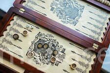 PREMIUM 20in BACKGAMMON board - Coat of Arm Dynasty 2 Handmade Leather decorated