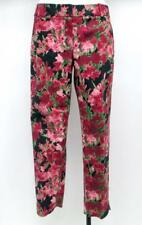 Womens Talbots  Floral Rose on Black Straight Leg Pants Sz 4 Cotton/Spandex NEW