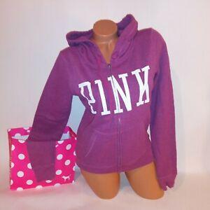 Victoria Secret PINK Sweater Hoodie Small Full Zip Purple Long Sleeve Logo 2013