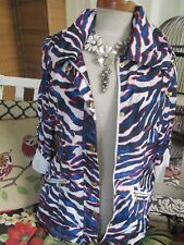 Thalia Sodi Zebra Print Jacket Full Zip Roll Tab Sleeve Lined Sz M- Perfect!