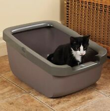 Catit Cat Litter Pan Box with Rim, Taupe