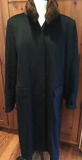 Marina Rinaldi  Black Wool Coat with Mink Collar Size 23 US 14