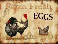 "Farm Fresh Eggs Retro Vintage Metal Tin Bar Sign Country Home Decor 13"" x 10"""