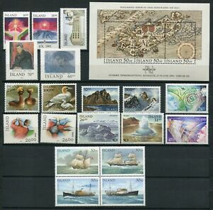 Iceland Year Set 1991 MNH Complete Including Postal Ships I Block of Four