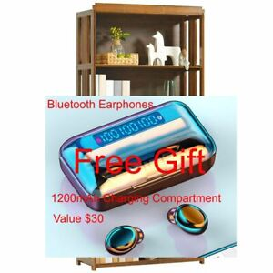 Bamboo Furniture Bookcase Shelf 4 Tiers -S70CM with Free Gift Bluetooth Earphone