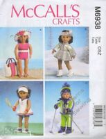 """Pattern Sew McCalls fits Girl 18"""" inch Doll Clothes Wardrobe Sports NEW"""