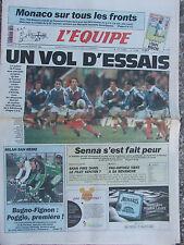 L'Equipe du 21-22/3/1992 - Avant France-Irlande -Monaco - Senna - Milan-San Remo