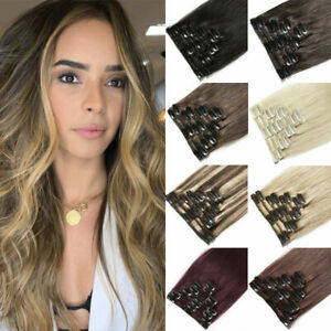 Clip in Hair Extensions 8pieces Clip-on Sew Weft Remy Brazilian Remy Human Hair