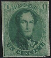 Belgium - 1861 - Scott # 9 - Mint OG - 4 Large Margins - Signed