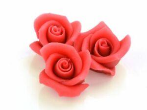 4 Marzipan Rosen Aufleger Tortendeko Valentinstag Blumen Hochzeit Red Rot