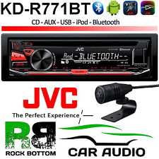 JVC Bluetooth CD MP3 Car Stereo Radio Player with Front Aux In USB Red Display