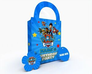 Personalised Paw Patrol Children Party Bag Gift Favour Box Treat Bag Blue