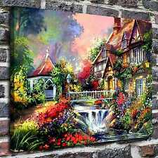 A house near a stream Paintings HD Print on Canvas Home Decor Wall Art Pictures