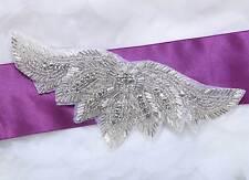 "6.7"" Wings Shape Acrylic Beaded Rhinestone Crystal Bridal Ribbon Belt Applique"