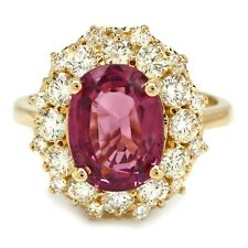 5.25 Carats Natural Tourmaline and Diamond 14K Solid Yellow Gold Ring