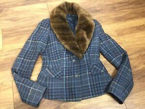 Blue Check Tartan Tweed Wool Blend Faux Fur Collar Blazer Jacket UK 8 10 Country