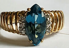 10k Yellow Gold London Blue Large 12x6mm Marquise Topaz Diamond Size 6 Ring 3.3g
