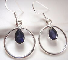 Faceted Iolite Teardrop in Hoop 925 Sterling Silver Dangle Earrings