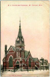 "Mt. Pleasant, Michigan Postcard ""M.E. Church and Parsonage"" Street View c1910s"