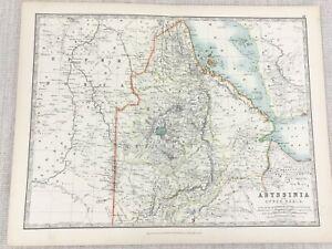 1896 Antique Map of Abyssinia Upper Nubia The Ethiopian Empire 19th C Johnston
