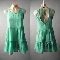 Boho Gauze Cotton Low Scoop Back Tiered Babydoll Cover Up Sun 191 mv Dress S M L
