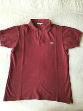 Mens Lacoste vintage chemise polo shirt in dark red size 3 (XS)