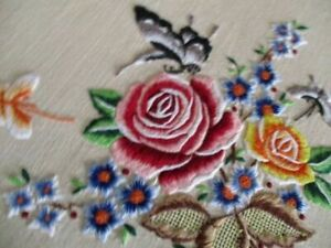 VINTAGE TABLECLOTH - HAND EMBROIDERED FLOWERS & BUTTERFLYS