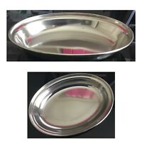 20cm STAINLESS STEEL OVAL RICE CURRY TRAY PLATE SERVING DISH MEAT BUFFET KITCHEN