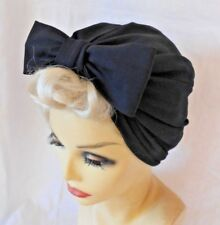 VINTAGE INSPIRED 1940's 1950's STYLE  BLACK TURBAN HAT WW2 LINDYHOP SWING