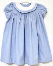 Btq.GABRIELA Blue Gingham Float Round Collar Great 4 Monograming Dress Girl Sz 4