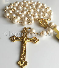 GOLD AAA White Pearl Beads catholic Rosary Bead NECKLACE Cross Crucifix GIFT BOX